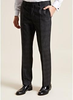 Bisse PPNK19K19220 Regular Fit Platinum Ekoseli Klasik Pantolon